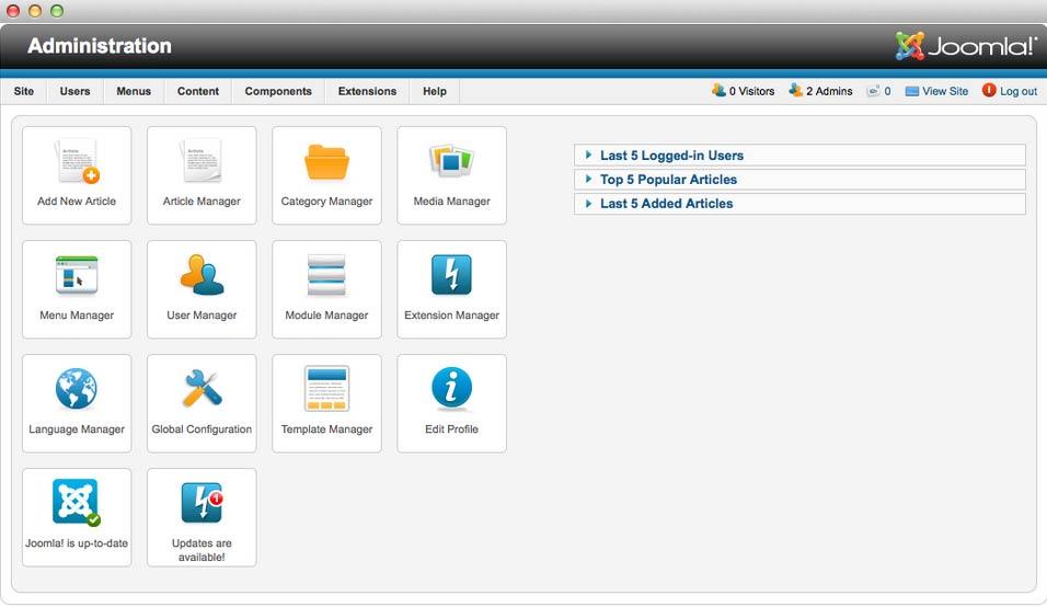 Joomla administrator for Joomla administrator templates