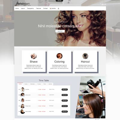 Hairdresser and Hair Salon Joomla Template